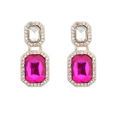 Gored Plum Red Square With Diamond Design Alloy Korean Earrings