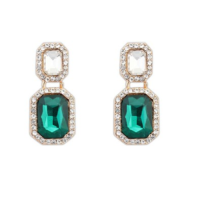 Birthing Green Square With Diamond Design Alloy Korean Earrings