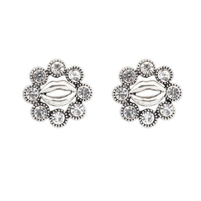 Buckle Antique Silver Lip Decorated Design Alloy Stud Earrings