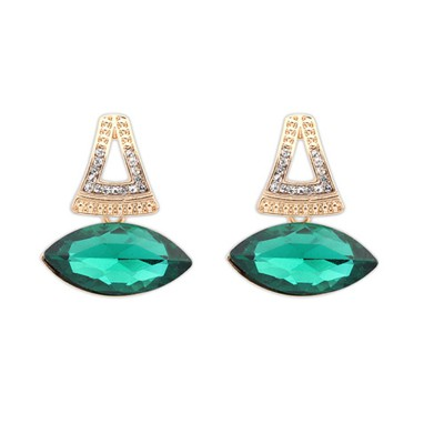 Toddler Green Big Gemstone Pendant Design Alloy Korean Earrings