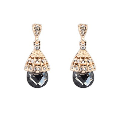 Political Black Gemstone Decoraed Simple Design Alloy Korean Earrings
