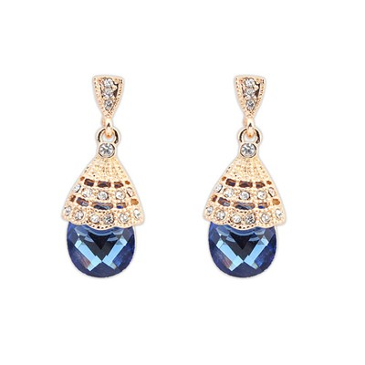 Caspari Sapphire Gemstone Decoraed Simple Design Alloy Korean Earrings
