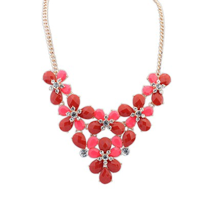 Peterbilt Red Butterfly Flower Decorated Design Alloy Bib Necklaces