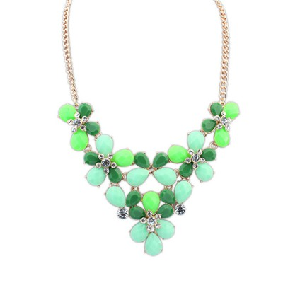 Uniqe Green Butterfly Flower Decorated Design Alloy Bib Necklaces