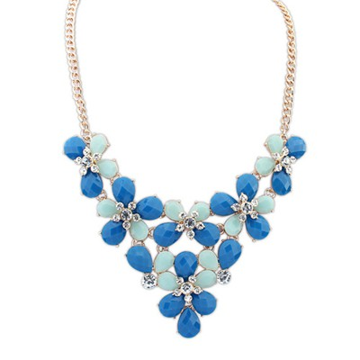 Teen Blue Butterfly Flower Decorated Design Alloy Bib Necklaces