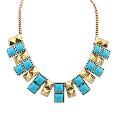 Famale Blue Double Layer Square Design Alloy Bib Necklaces