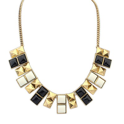 Skinny Black And Beige Double Layer Square Design Alloy Bib Necklaces