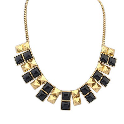 Magnetic Black Double Layer Square Design Alloy Bib Necklaces