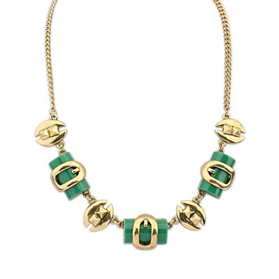 2013 Green Geometric Shape Pendant Design Alloy Bib Necklaces