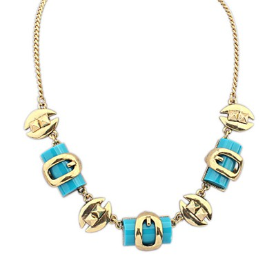 Little Blue Geometric Shape Pendant Design Alloy Bib Necklaces