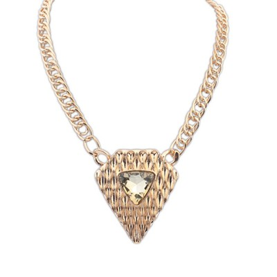 High Waist Gold Color Triangle Shape Pendant Design Alloy Bib Necklaces