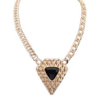 Platinum Black Triangle Shape Pendant Design Alloy Bib Necklaces