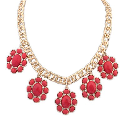 Scrapbooki Red Five Oval Gemstone Design Alloy Bib Necklaces