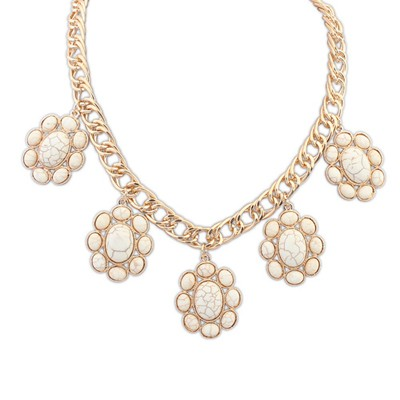 Famale Beige Five Oval Gemstone Design Alloy Bib Necklaces