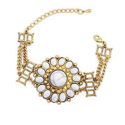 Athena Beige Round Flower Decorated Design Alloy Korean Fashion Bracelet