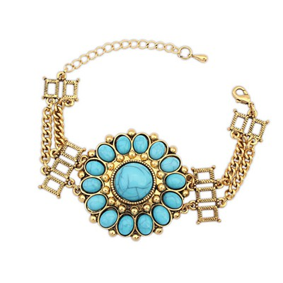Arrowhead Blue Round Flower Decorated Design Alloy Korean Fashion Bracelet