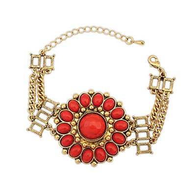 Screw Red Round Flower Decorated Design Alloy Korean Fashion Bracelet