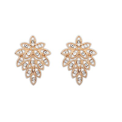 Energie Gold Color Hollow Out Leaf Design Alloy Stud Earrings