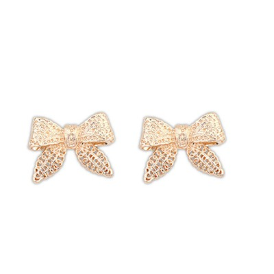 Acrylic Gold Color Hollow Out Bowknot Design Alloy Stud Earrings