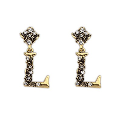African Antiqur Gold Vintage Letter L Design Alloy Stud Earrings