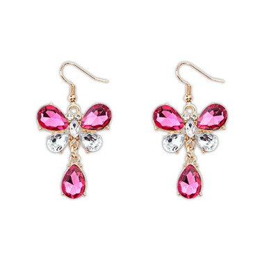 Affinity Plum Red Butterfly Shape Design Alloy Korean Earrings