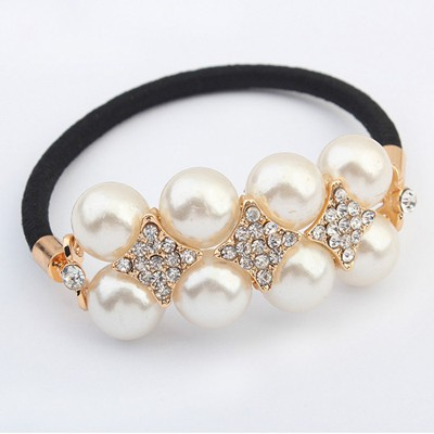 Affinity White Doublelayer Pearl Decorated Design Alloy Hair band hair hoop