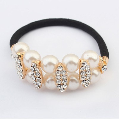 Aquamarine White Doublelayer Pearl Decorated Design Alloy Hair band hair hoop