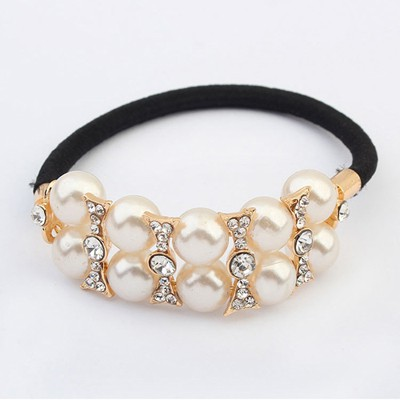 Pendant White Doublelayer Pearl Decorated Design Alloy Hair band hair hoop