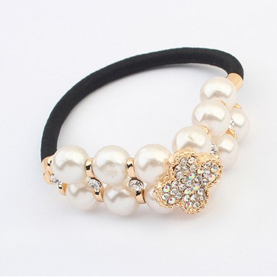 Floating White Doublelayer Pearl Decorated Design Alloy Hair band hair hoop