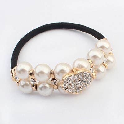 Printable White Doublelayer Pearl Decorated Design Alloy Hair band hair hoop