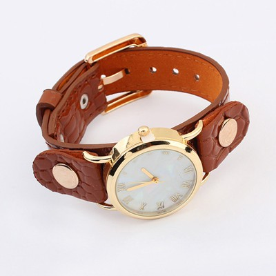 Buckle Coffee Round Shape Simple Design Alloy Ladies Watches
