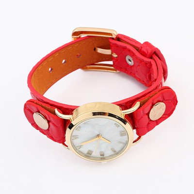 Magnifying Red Round Shape Simple Design Alloy Ladies Watches