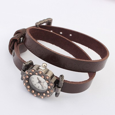 Huge Coffee Double Layer Diamond Decorated  Design Alloy Fashion Watches