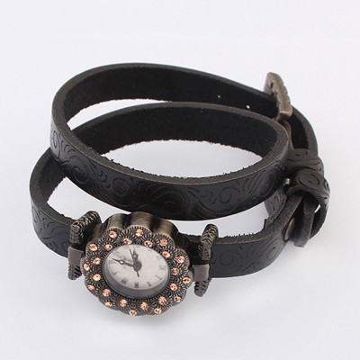Pagan Black Double Layer Diamond Decorated  Design Alloy Fashion Watches