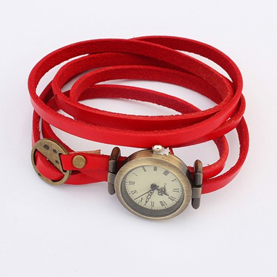 Gored Red Multilayer Simple Design Alloy Fashion Watches