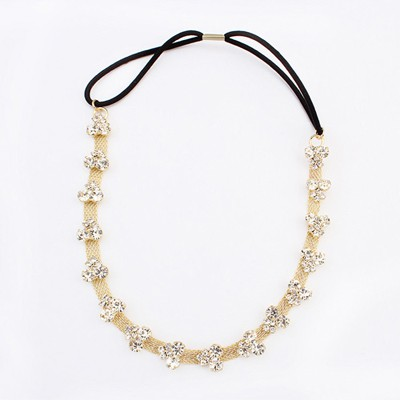 Political Gold Color Diamond Decorated Simple Design Alloy Hair band hair hoop