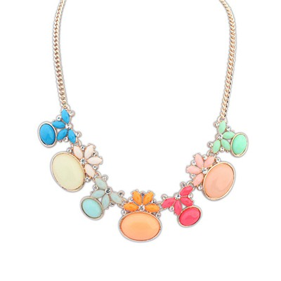 Acrylic Multicolor Geometric Shape Gemstone Decorated Alloy Bib Necklaces