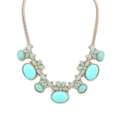 Formal Light Blue Geometric Shape Gemstone Decorated Alloy Bib Necklaces