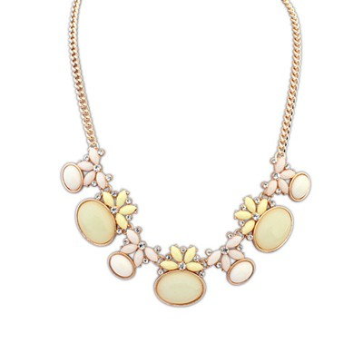 Promo Beige Geometric Shape Gemstone Decorated Alloy Bib Necklaces