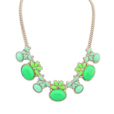 Womens Green Geometric Shape Gemstone Decorated Alloy Bib Necklaces