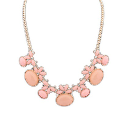 Exquisite Pink Geometric Shape Gemstone Decorated Alloy Bib Necklaces