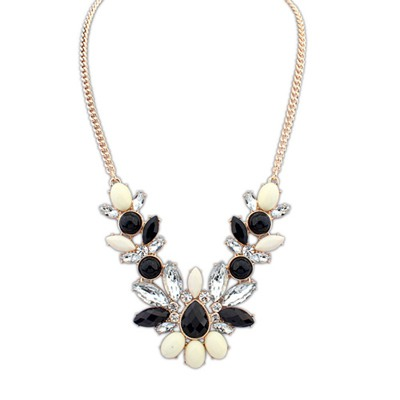 Pierced Multicolor Geometric Shape Gemstone Decorated Alloy Bib Necklaces