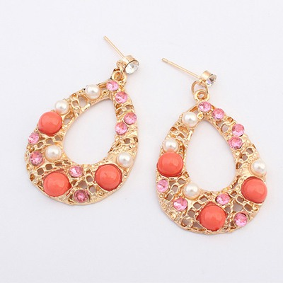 Sweet Peach Red Hollow Out Water Drop Shape Design Alloy Korean Earrings