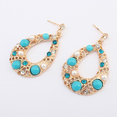French Blue Hollow Out Water Drop Shape Design Alloy Korean Earrings
