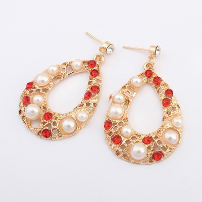 Bulk White Hollow Out Water Drop Shape Design Alloy Korean Earrings
