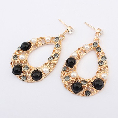 Boutique Black Hollow Out Water Drop Shape Design Alloy Korean Earrings