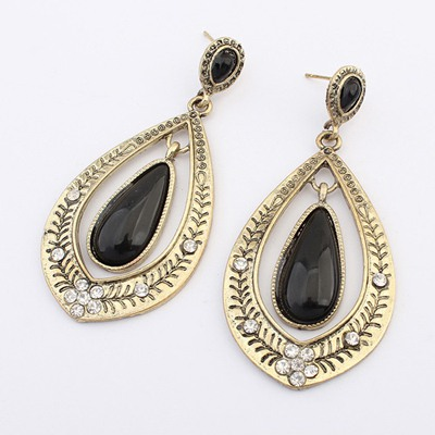 Rasta Black Water Drop Shape Gemstone Decorated Alloy Korean Earrings