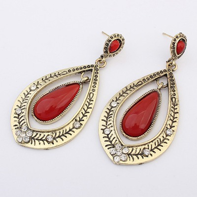 Fingerprin Red Water Drop Shape Gemstone Decorated Alloy Korean Earrings