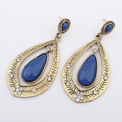 Double Dark Blue Water Drop Shape Gemstone Decorated Alloy Korean Earrings