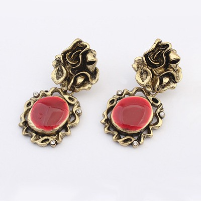Pregnancy Red Hollow Out Round Shape Decorated Alloy Korean Earrings